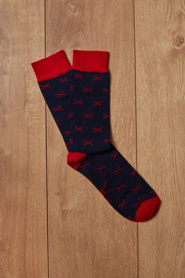 Calcetin azul motivo rojo Jajoan