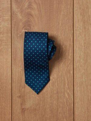 Corbata azul topos verdes