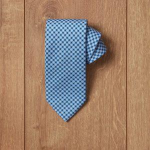 Corbata azul cruces blancas y topo azul