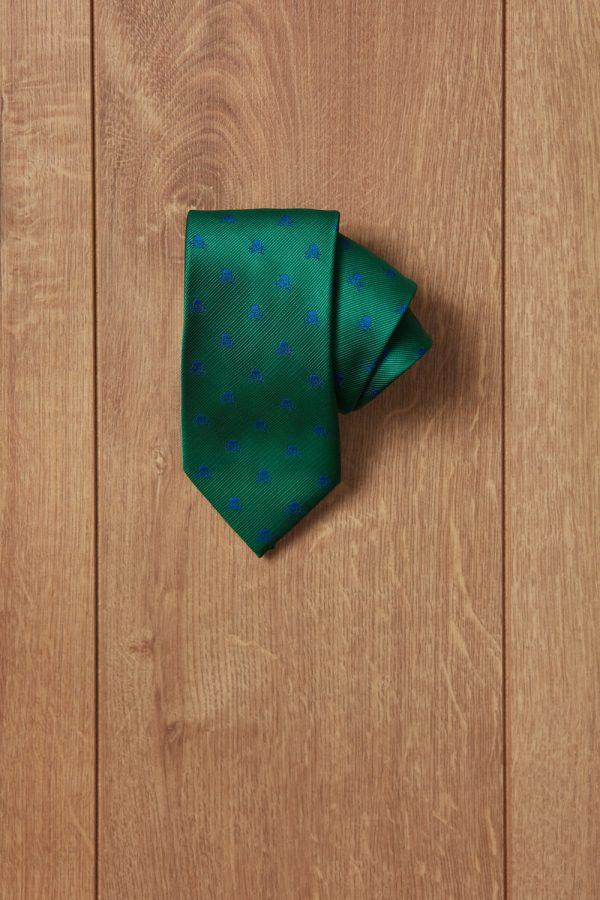 Corbata verde calavera azul