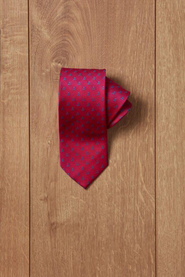 Corbata rosa calavera azul