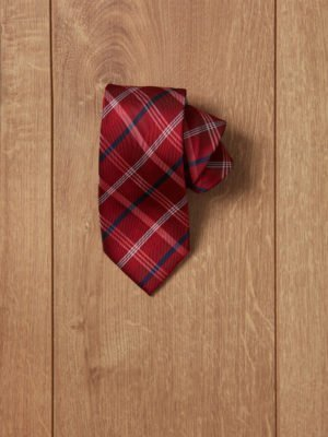 Corbata roja rallas blancas y azules