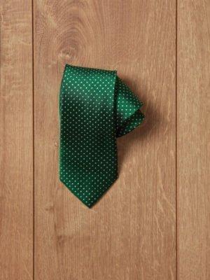 Corbata verde topos blancos
