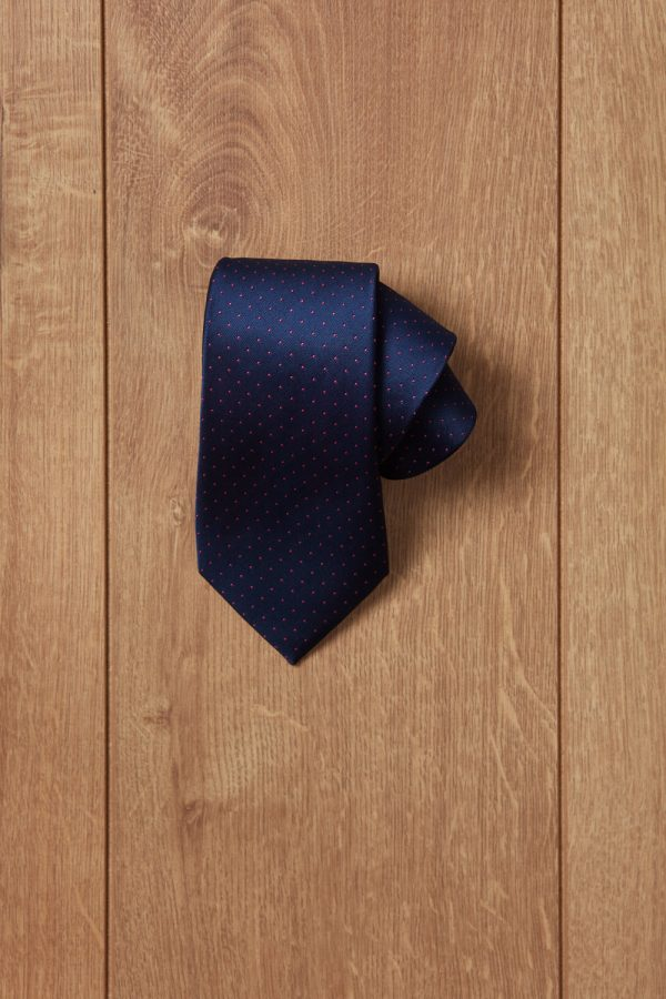 Corbata azul puntos rojos