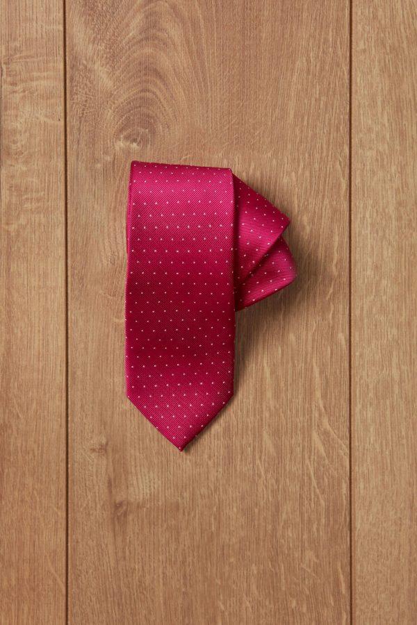 Corbata rosa puntos blancos
