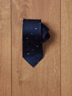 Corbata azul tijeras de colores