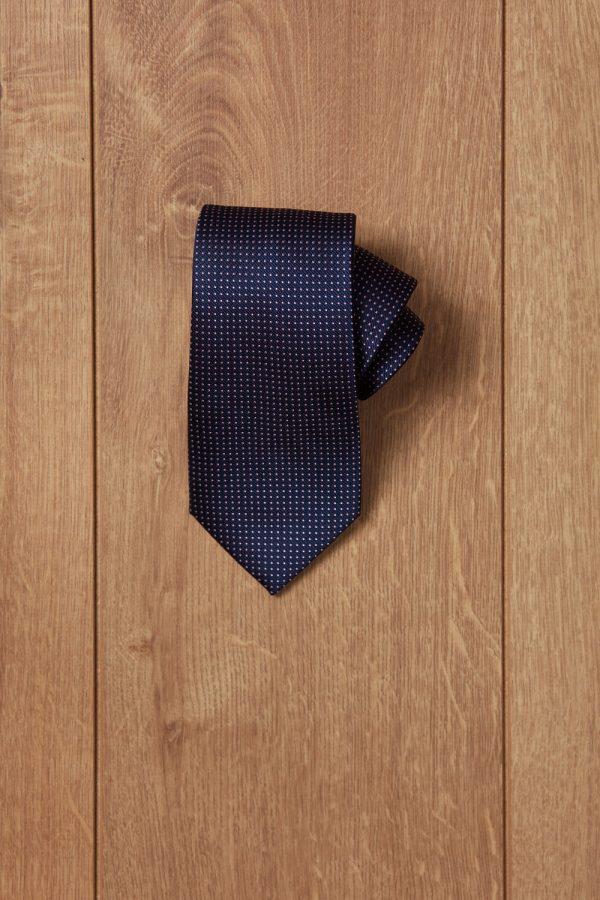 Corbata azul puntito blanco