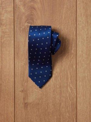 Corbata azul topos blancos