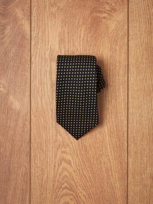 Corbata-algodon-marino-topos-amarillos