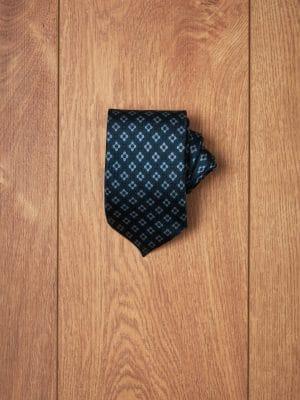 Corbata azul petroleo dibujos geometricos