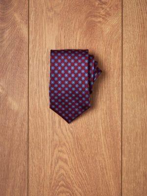 Corbata granate floral azul