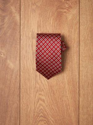 Corbata granate flores geometricas
