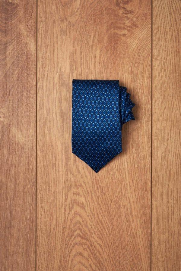 Corbata marino diseño geometrico azul