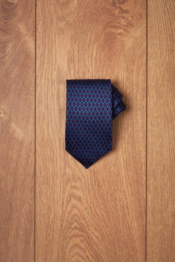 Corbata marino diseño geometrico fucsia