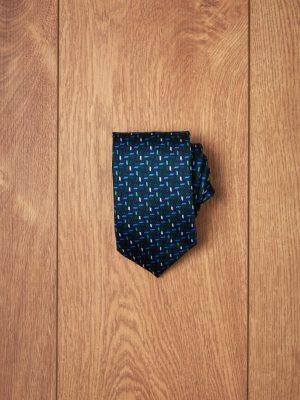 Corbata marino espiga verde azu