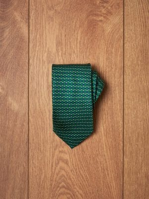 Corbata verde diseño geométrico azul