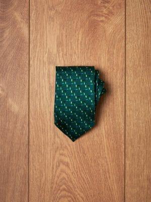 Corbata verde espiga tonos azules