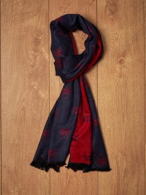 Bufanda marino y roja calaveras