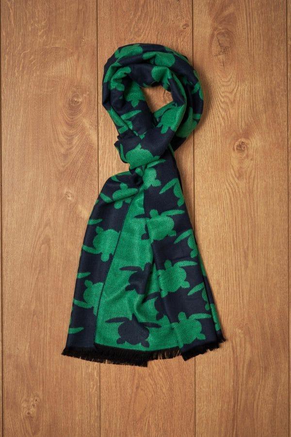 Bufanda verde y marino tortugas