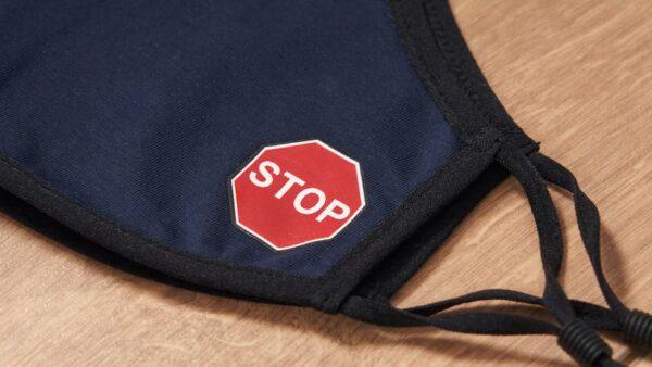 Mascarilla de Tela Señal Stop Azul 1